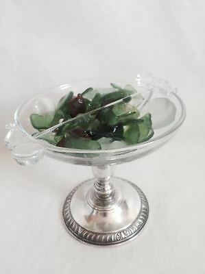 Vintage  Whiting Sterling Silver & Glass  Candy- Compote Dish Bowl Two Sections
