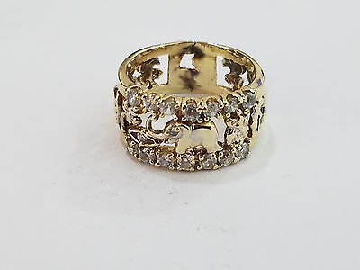 10k Yellow Gold Diamond Elephant Ring, Good Luck, Size 6.5 - 6 Grams - 3355