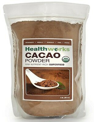 Healthworks Raw Certified Organic Cacao Powder 1, 2, 3, and 5 lbs