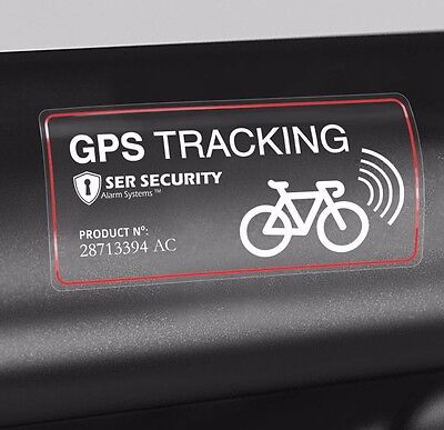 WARNING STICKER - Bicycle GPS Tracking Device - Bike Anti Theft System Installed