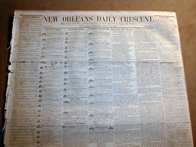 1857 LOUISIANA New Orleans Crescent newspaper US Mint GOLD COINS Numsimatics