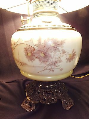 """Antique Hand Painted Oil Lamp 10"""" Satin Milk Glass Hurricane Shade Converted"""