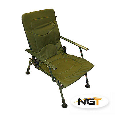 New Ngt Specialist Carp Fishing Padded Chair  Large Mud Feet & Armrests...