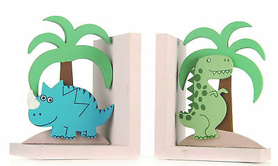 Dinosaur Wooden Bookends Colourful Nursery Designed Book Ends Boxed