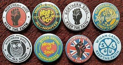Northern Soul Wigan Casino Button Badges x 8. Pins. Collector. Bargain 0)