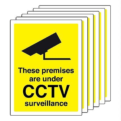6 X Cctv Signs Self Adhesive 100Mm X 75Mm In Or Outdoor Site Safety Building
