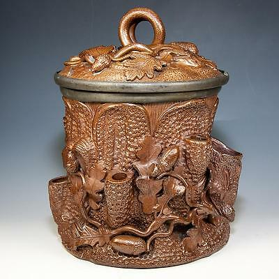 Antique French Pottery Smoker's Jar, Black Forest Style Acorns, Vines, Hand Made