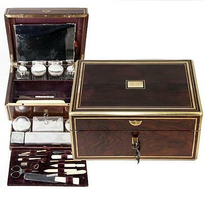 Antique 1880s French Vanity Traveler's Chest, Rosewood Box, Sterling Silver Jars