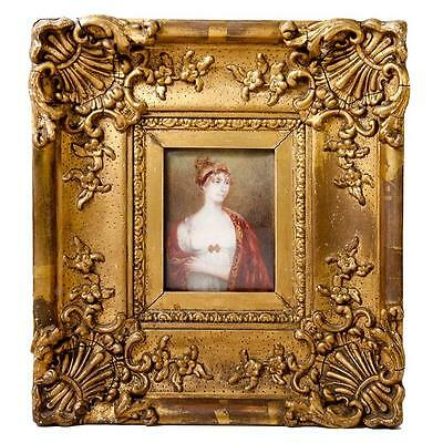 3/4 Pose - Antique Portrait Miniature of a Woman in Empire Gown, Gesso Frame
