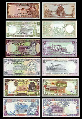 Set of 6Pcs Syria 1+5+10+25+50+100 Pounds Middle East Paper Money Uncirculated