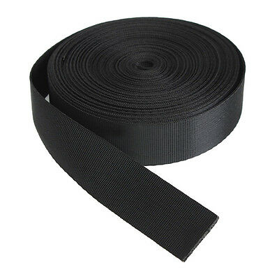 Black 10 Yards Nylon Webbing Tape Multi-use Strap Strapping (25mm) Width L3