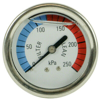 Swimming Pool Filter Pressure Gauge - Rear Mount - Liquid Filled