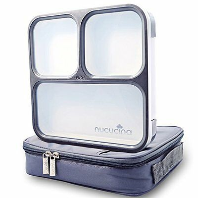 Nucucina Slim Bento Lunch Box Set - All-in-one Stylish Leakproof Food Contain...