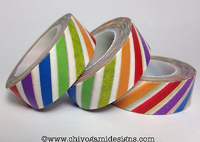 Washi Tape Rainbow Diagonal Stripe 15Mm Wide X 10Mtr Roll Scrap Plan Craft Wrap