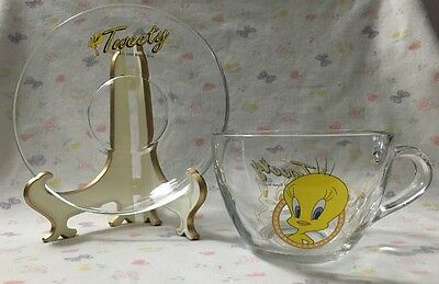 Tweety Bird  CUP SAUCER SET Clear Glass1998 LOONEY TUNES