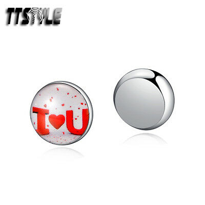 TTstyle 8mm Stainless Steel Love You Round Magnet Earrings Sinlge/Pair NEW
