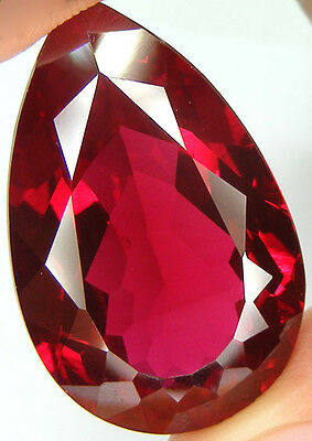 72.12Ct. Gorgeous Huge Pear Cut Pigeon Blood Red Ruby Lab Corundum