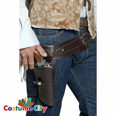 Adults Authentic Western Gunman Belt & Holster Wild West Fancy Dress Accessory