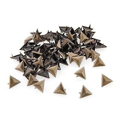 100X Supports rivets Metal 14mm triangle Pointes Sac / Chaussures / Gants WT