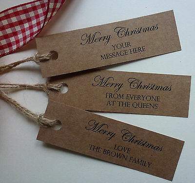 Personalised 'Merry Christmas' Vintage Style Kraft Gift Tags Labels with Twine