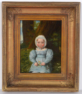 """Portrait of a little girl in forest landscape"", French oil on canvas painting"