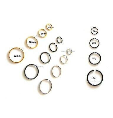 Nose Ring Hoop Eyebrow Lip Septum-Helix Cartilage Tragus Studs Rings