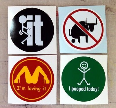 4 Funny Hard Hat Stickers | Motorcycle Welding Safety Silly Helmet Decals Labels