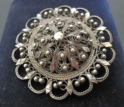 Vintage old Bulgaria Traditional Silver marked Filigree Pin Brooch Jewelry