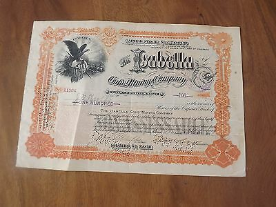 Antique Share Certificate Isabella Gold Mining Company 1899 100 $ Colorado Usa