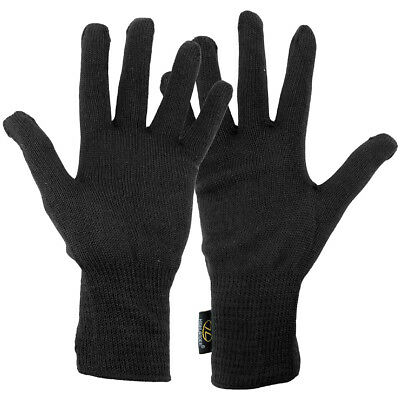 Highlander Thermal Cold Weather Inner Gloves Hiking Winter Warm Army Liner Black