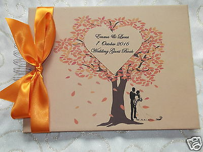 Personalised Autumn Fall Wedding Guest Book 10 X 7 Handmade New In Box