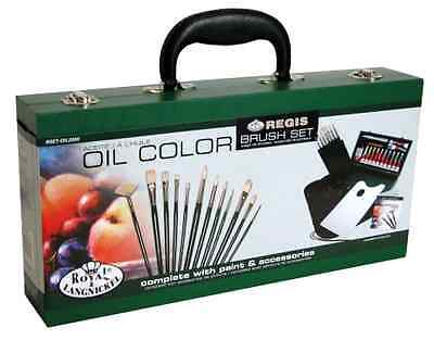Oil Color Painting Set Portable Wooden Storage Box With Handle For Travel