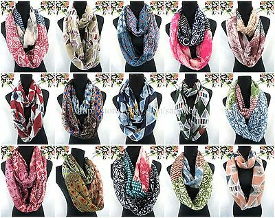 US SELLER-12pcs Womans fashion vintage boho retro double loop infinity scarf