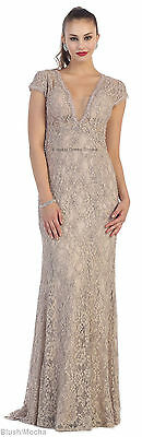 Sale Formal Evening Lace Dress Special Occasion Cap Sleeve Prom Red Carpet Gowns