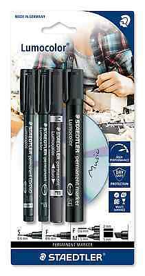 STAEDTLER LUMOCOLOR Permanent  Pens x4  Superfine + Fine + Duo + Marker BLACK