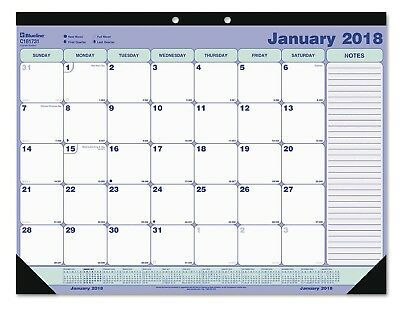 Year 2018 Blueline Desk Pad Calendar, 21 1/4 x 16, Blue/White/Green, Free Ship