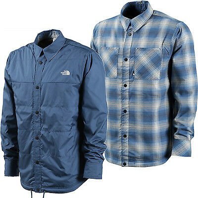 THE NORTH FACE Mens 2017 Shady Blue / Plaid FORT POINT REVERSIBLE FLANNEL JACKET
