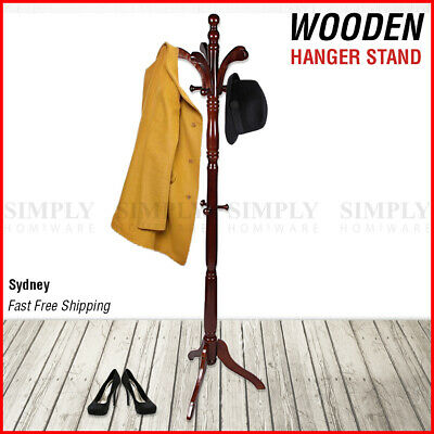 Wooden Coat Stand Rack Clothes Hanger Hat Tree Vintage Jacket Bag Umbrella Hook