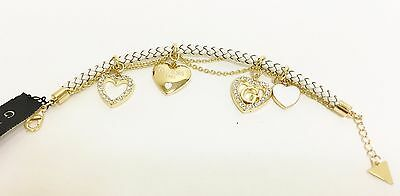 New Guess Gold Tone,White Braided Leatherette+Multi Heart Charm+Crystal Bracelet