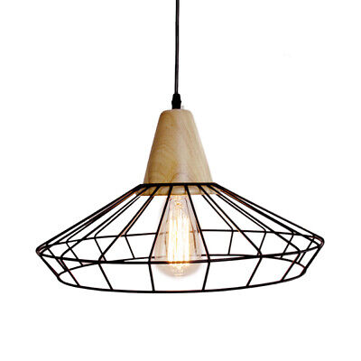 Vintage Pendant Lamp - Nordic Cage | w/ Frosted Bulb 40W | Industrial Wood Light