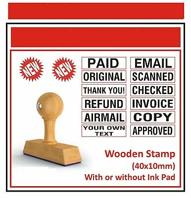 Wooden Custom Rubber Stamp NO Ink pad No Self Inking Garage Text Line Office 40m