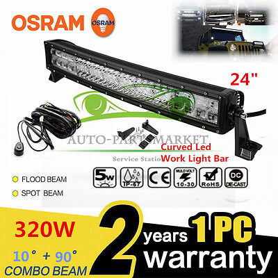 Xmas!320W CURVED 24INCH LED Combo Work Light Bar Offroad Driving Lamp 4WD ATV