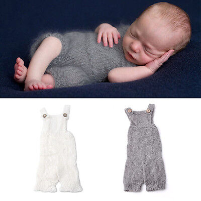 Newborn Baby Infant Knitted Mohair Overalls Rompers Photography Props Costume