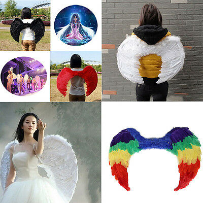 Large Fancy Feather Rainbow/White Angel Wings Dress Up Halloween/Party/Costume