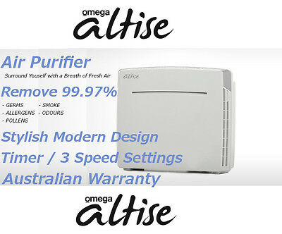 NEW Omega Altise OPAL Air Purifier White HEPA with Ionizer Fresher Cleaner Air
