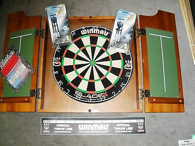 Winmau Blade 4 Dart Board and Cedar Stain Solid Wood Cabinet With Darts