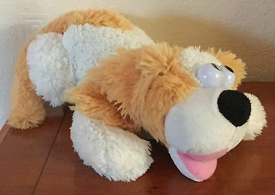 12 Inch White & Light Brown Roll Over Puppy Dog