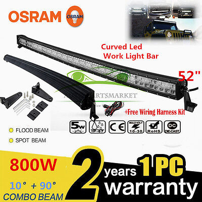 "Xmas!CURVED 800W 52""LED Combo Work Light Bar Offroad Driving Lamp FLOOD SPOT 52"