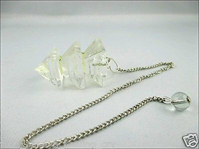 Jet Crystal Quartz Triple Bonded Pyramid Pendulum A++ Jet International Crystal