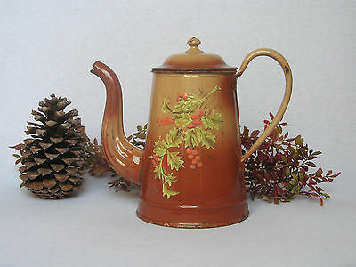 ANTIQUE FRENCH ENAMELWARE COFFEE POT with holly motifs in relief